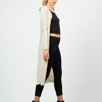 Long Ribbed Open Cardigan