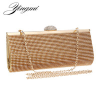 New arrival diamond full crystal rhinestone women clutch metal bag bridal dress party handbag evening bag silver black golden