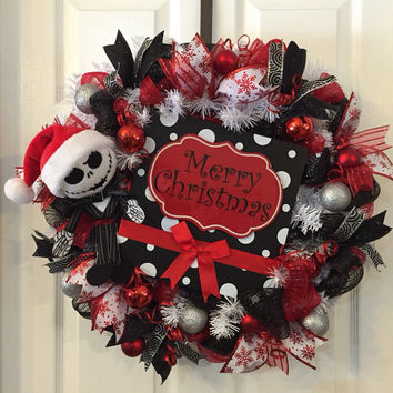 Jack Skellington, Nightmare Before Christmas, Jack Skellington Wreath, Christmas Wreath, Front Door Wreath, Christmas Mesh, Holiday Wreath