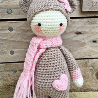 Handmade Crochet Amigurumi Mini Bina Biscuit Bear Doll with heart on belly  - Lalylala- cute Gift idea - 10 inches tall **Made To Order**