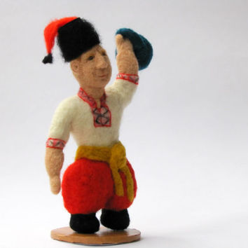 "Toy Figurine Wool ""Ukrainian Kozak With Weidhts"" Felt doll - Christmas - Collectible dolls - Needle felting - Felt toys - handmade toys"
