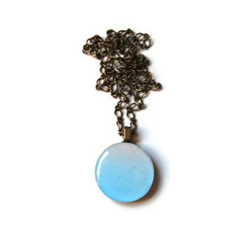 Resin Charm Necklace - FREE shipping to USA pastel stripes pink blue ombre round 1 inch circle wood pendant