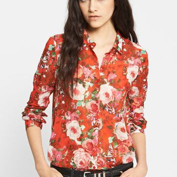 Women's The Kooples Floral Print Cotton Blouse, Size Large - Red