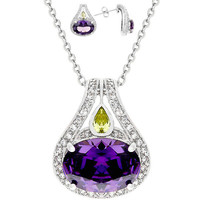 Majestic Amethyst CZ Pendant Necklace and Earrings Set
