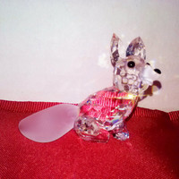 Swarovski Crystal Fox Figurine Frosted Nose & Tail Signed Retired 7677 Adi Stocker Designer Woodland Friends Austrian AB Crystal Pet Collect