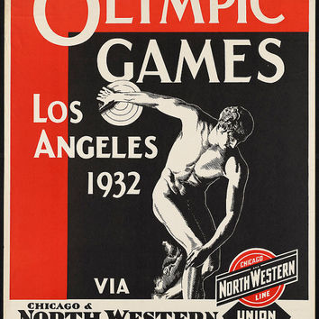 "c.1930s ""1932 Los Angeles Olympic Games Discus"" Travel Poster-Antique-Old-Vintage Reproduction Photograph/Photo: Gicclee Print. Frame it!"