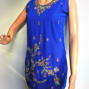 Blue indian tunic, tunic dress embroidered, indie fashion tops,boho embroidered tops, womens tunics boho, indie tunic tops, ethnic wear