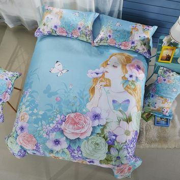 Svetanya 100% Cotton Bedlinen Flower Fairy Print Bedding Sets Duvet Cover Set Full Queen King Size for Kids Teens Adults