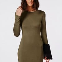 LONG SLEEVE BODYCON DRESS KHAKI