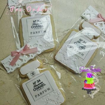 """Chanel Perfume Sugar Cookie 3""""- 12 Sugar Cookies Decorated With Marshmallow Fondant"""