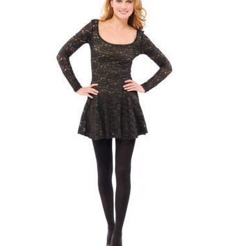 Betsey Johnson Queens Doily Long Sleeve Fit n Flare Dress