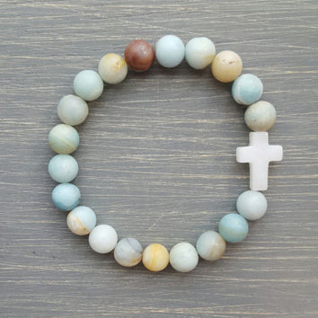Amazonite Gemstone Beaded Bracelet with White Quartz Cross (Natural)