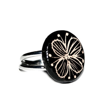 Ceramic ring - black and white jewelry with Butterfly flower motif