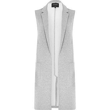 River Island Womens Grey jersey longline sleeveless jacket