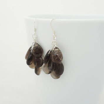 Smoky Quartz Earrings, Cluster Smoky Quartz Earrings, Gemstone Earrings, Brown Earrings, Dangle Earrings