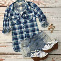Plaid Super Soft Top: Blue