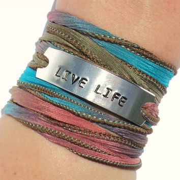 Live Life Silk Wrap Bracelet Inspirational Words Jewelry With Meaning Yoga Engraved Unique Gift For Her Birthday Christmas Under 50 C29