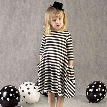 2018 New Arrival Children Clothing Black And White Striped Dress Winter Girl Clothes Casual Kids Dresses For Girls 2-6 Years