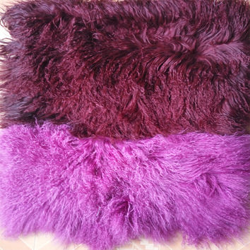2016 Real Red and Purple Mongolian Fur Pillow Tibetan Fur Cushion Covers Decorative Pilows Sofa Cushions Christmas Chair Cover