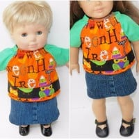 """HALLOWEEN bitty baby clothes girl twin doll 15"""" or 18"""" denim skirt owl blouse"""