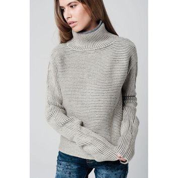 DCCK8BW TURTLENECK SWEATER WITH EXTRA LONG SLEEVES AND STRIPED IN CREAM AND GREY