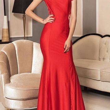 Red Patchwork Lace Draped Sequin Boat Neck Fashion Maxi Dress