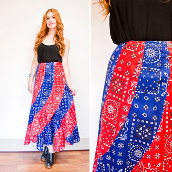 Vintage 1970s Skirt - Red & Blue Bandana Print Wrap Mai Skirt 70s - Extra Small