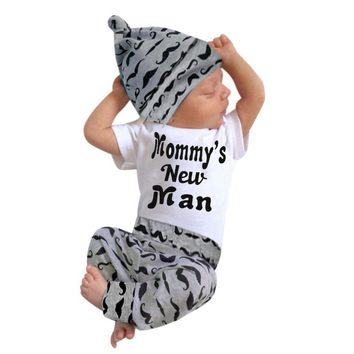 Newborn Baby Girl Boy Clothes Sets Beard Tops T-shirt Pants Casual Leggings Cute Animals 3pcs Outfits Baby Boys Girls Set