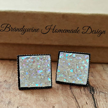White Druzy Earrings, 12 mm Square Druzy, Druzy Studs, White Druzy Earrings, Gunmetal Grey Earrings, Affordable Jewelry, Preppy Earrings