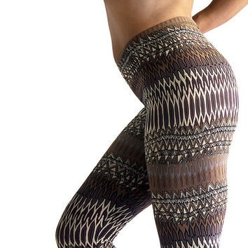 Winter Printed Tribal Women Leggings // Pants //  Tights