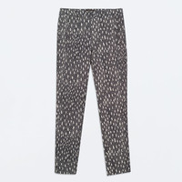 High waisted jacquard patterned trousers