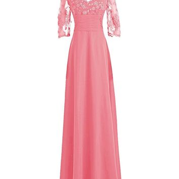 Fashion Plaza Women's 3/4 Lace Sleeves Chiffon Mother of the Bride Dress Party Ball Dresses
