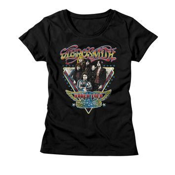 Aerosmith Ladies T-Shirt World Tour Black Tee