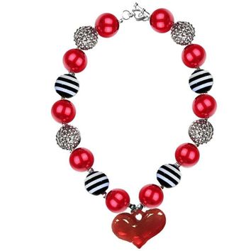 Red Black Heart Necklace Stripe Chunky Gumball Sparkle