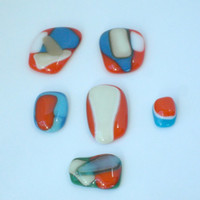Mosaic pebbles - fused glass pendants -  mosaic fused glass puddles - mosaic embellishments - orange glass - green - blues - tans