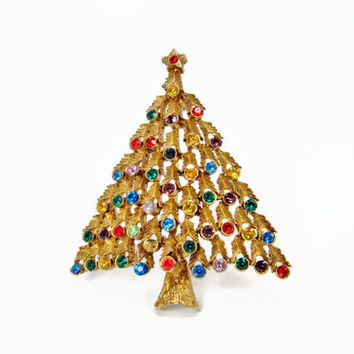 Vintage Christmas Tree Brooch, JJ Christmas Tree, Rhinestone Christmas Tree, Vintage Jewelry, Christmas Jewelry, Christmas Pin