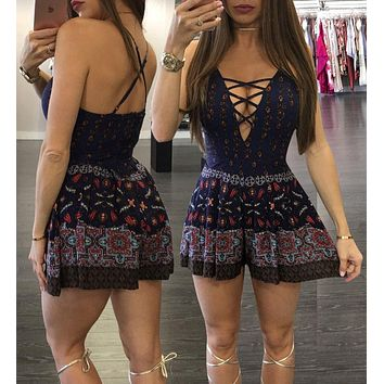 BOHEMIAN LACE-UP ROMPER