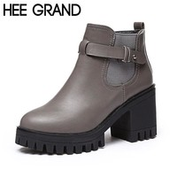 Ankle High Round Toe Buckle Strap Thick Square Heels Women's Winter Boots