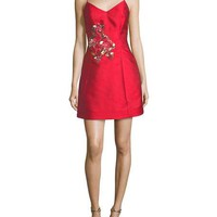 Mestiza New York Sleeveless Bell Cocktail Dress w/ Flamingo Embroidery