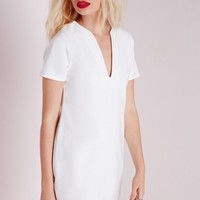 Missguided - Deep V Plunge Shift Dress White