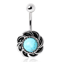 316L Surgical Steel Antique Turquoise Burst Navel Ring