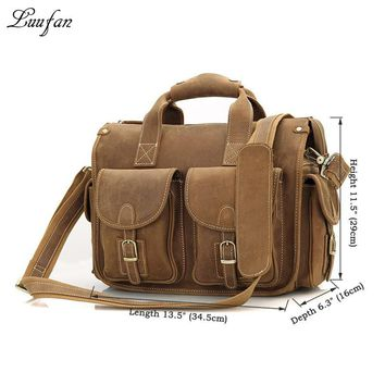 426914527e Men s Crazy horse leather briefcase fit Laptop fashion genuine leather  handbag leather business bag work tote