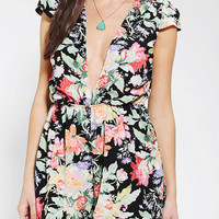 Reverse Deep-V Floral Romper  - Urban Outfitters