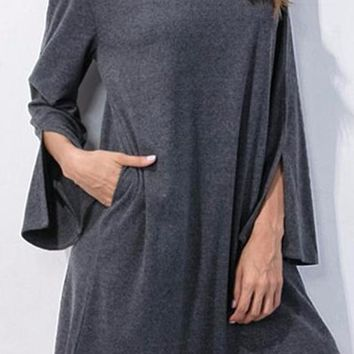 Women's Gray V-Neck with Choker Shift Dress with Slight Bell Sleeve with Pockets