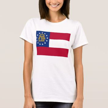 Women T Shirt with Flag of Georgia State