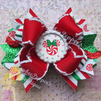 Minnie Mouse hair bows christmas bottle cap over the top boutique hair clip disney girls red headband cute winter wonderland xmas vacation