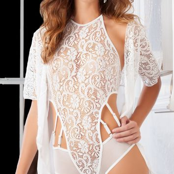 White Lace Teddy and Robe