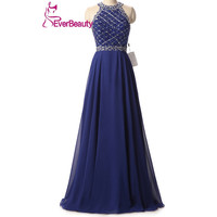 Cheap Sexy Long Evening Dress 2016 Royal Blue Chiffon A-line Real Picture Crystal Prom Gowns Hand Made Robe De Soiree Formal