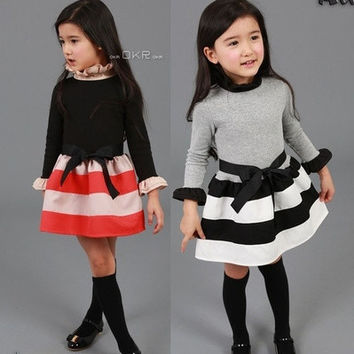 [ Humor Bear ] casual dress girls dress baby girl clothes Fashion Long Sleeve Ruffles Turtle Neck Striped Spliced Dress Alternative Measures - Brides & Bridesmaids - Wedding, Bridal, Prom, Formal Gown