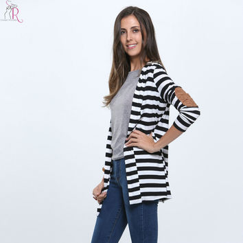 Black and White Striped Elbow Patching PU Leather Long Sleeve Cardigan